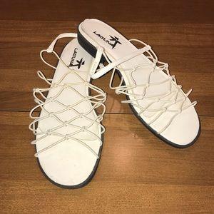 Laguna white stretch sandals
